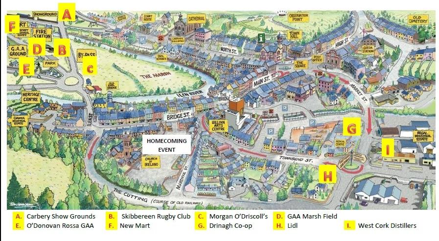 Skibbereen Ireland Map.Homecoming Parking Map Skibbereen West Cork Ireland